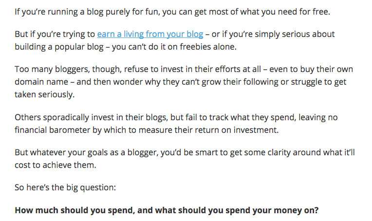How do you spend money blogging?