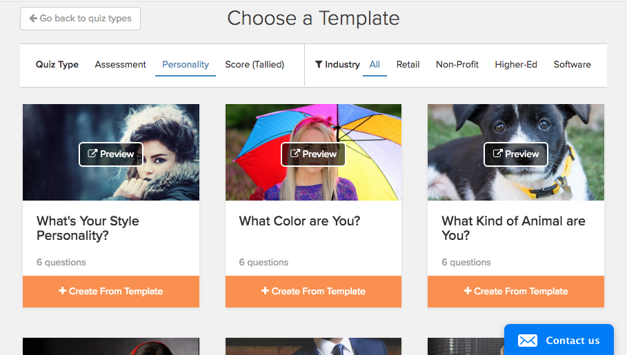 Interact Personality Templates