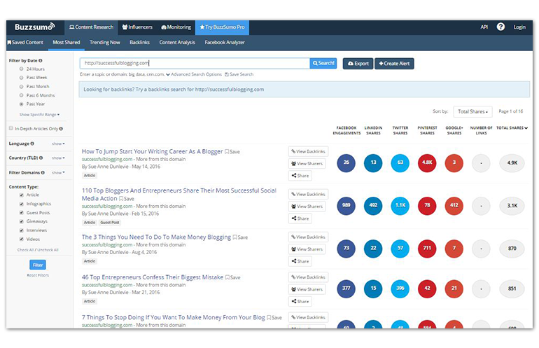 do search analysis with buzzsumo