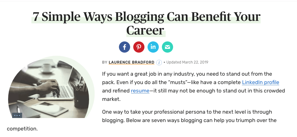 Blog for career