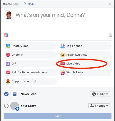 Start a Facebook Live video