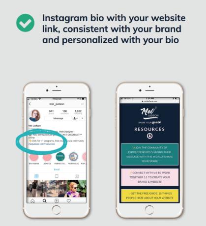 Instagram Bio page