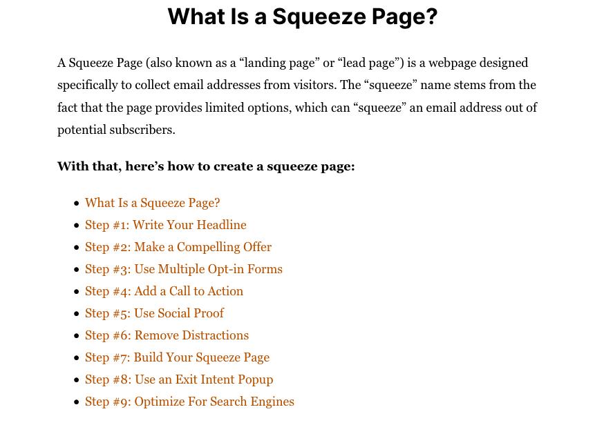Squeeze page for listbuilding