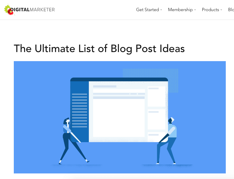 List of blog post ideas