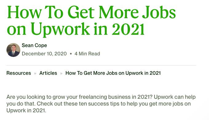 Freelance Opportunities Upwork