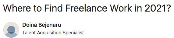 Where to find Freelance Work